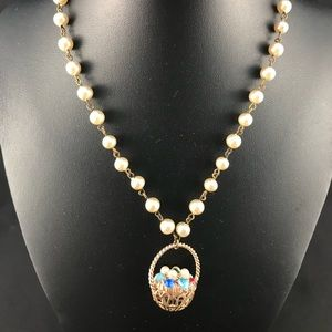 Vintage pearl necklace with basket pendant